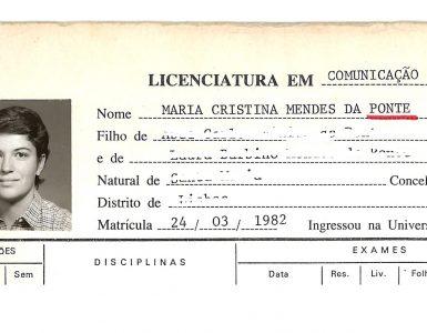 Ficha de aluno de Cristina Ponte